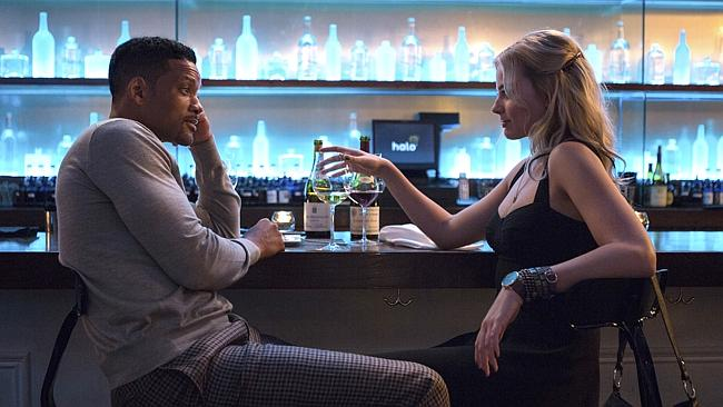 Co-stars ... Will Smith and Margot Robbie in a scene from Focus. Picture: AP Photo/Warner