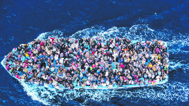 A refugee boat intercepted in the Mediterranean last year.