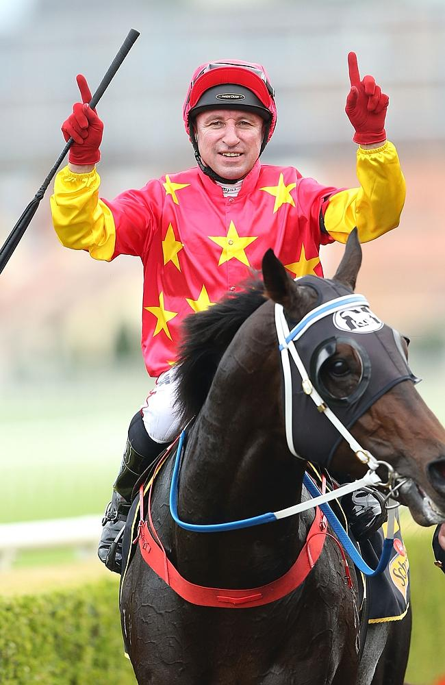 Jim Cassidy returns on Dissident after winning the Group 1 All Aged Stakes. Picture: Gett
