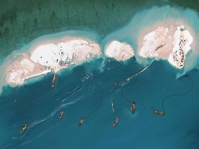 Great sand wall ... Satellite-imagery from DigitalGlobe shows what is believed to be Chin