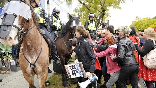 Anti-Islam Reclaim Australia rally in Perth's Solidarity Park with opposing Rally Against