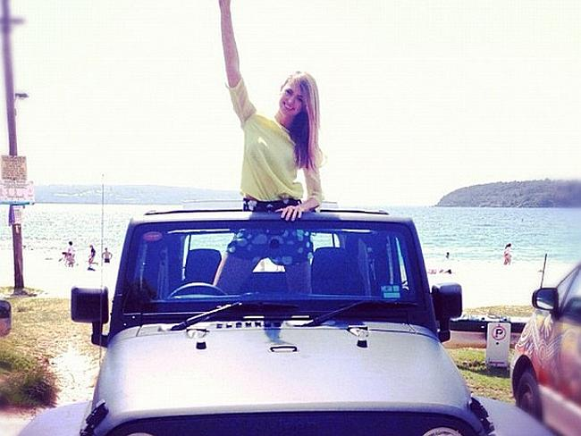 'Free loan' ... Jesinta Campbell poses with a Jeep. She is among the celebrities revealed