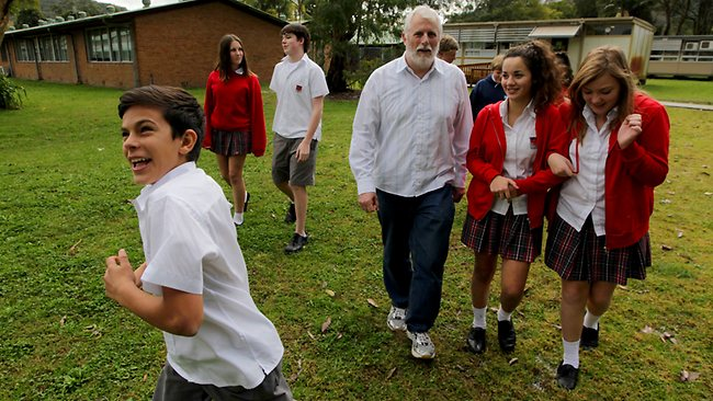 Narara High School teaching veteran Bernie Howitt, pictured with Year 8 students, says most bad behaviour in the classroom stems from 'disengagement'. Picture: Sam Mooy Source: The Australian