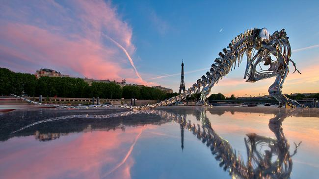 The life-size t-rex sculpture in Paris. Picture: Anthony Gelot