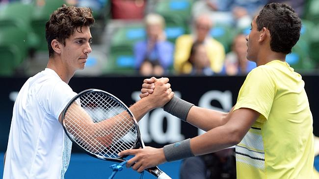 Australian tennis prodigies Thanasi Kokkinakis and Nick Kyrgios after the Australian Open final.