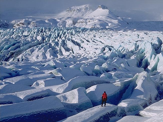 This glacier is part of Vatnajokull near Jokulsarlon, Iceland.
