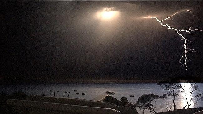 Lightning off Portsea last night.