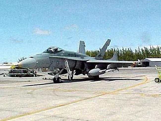 On the runway at Diego Garcia ... a file picture of a RAAF FA-18 Hornet.