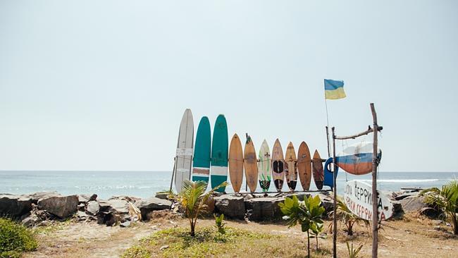 Surfing in Sri Lanka.