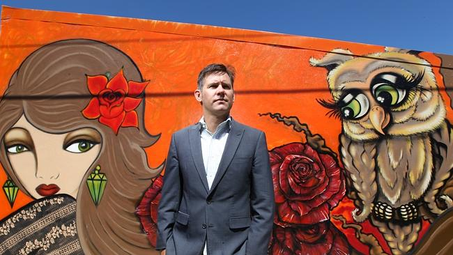 Brad Pettitt, Mayor of Fremantle with examples of graffiti Fremantle Council would like t