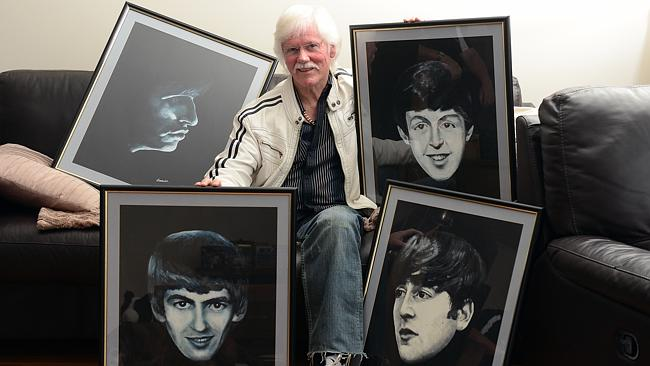 Flagstaff Hill artist Peter Finlay with his paintings of the Beatles Picture: Tom Huntley
