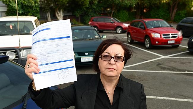 Mt Waverley woman Maria Irminger at the carpark where she was issued with the fine, which