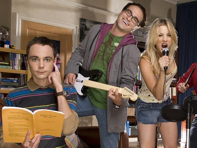 Top earners ... Jim Parsons, Johnny Galecki and Kaley Cuoco in a scene from the show.