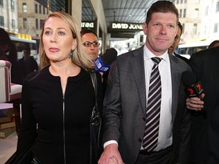 Andrew Cornwell and his wife Samanatha Brookes arrive at ICAC.