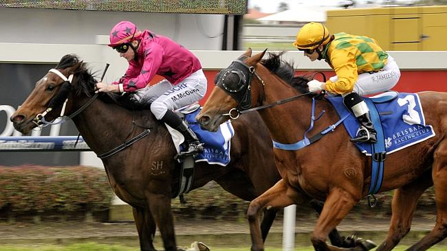Aimee (Matthew McGuren) holds Lucky Tom (Rikki Jamieson) on the line at Doomben on Saturd