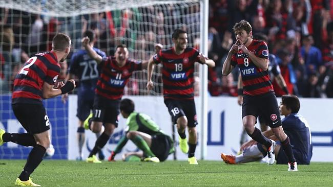 Mateo Poljak gives the Wanderers the lead against FC Seoul.