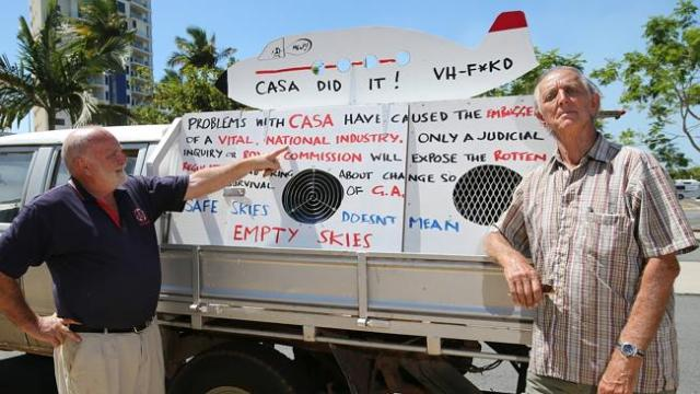 ON THE MOVE: A group of angry aviatiors who claim they've been screwed by CASA are drivin