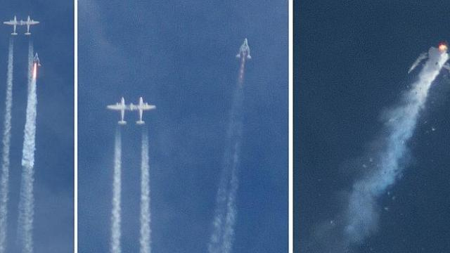 Explosion ... These three images show the space craft's demise.