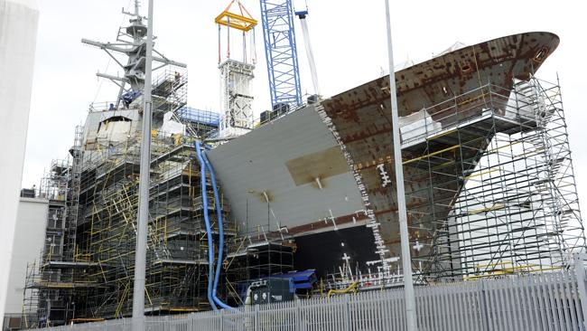 An Air Warfare Destroyer under construction at the ASC shipyards in Port Adelaide.