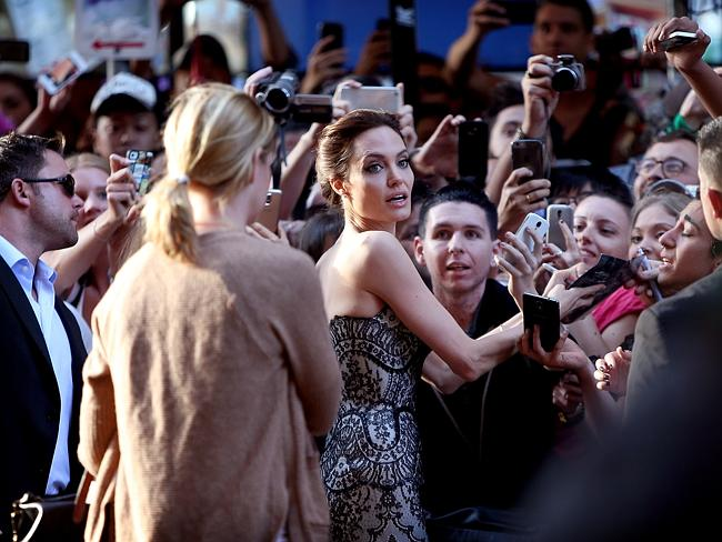 Angelina Jolie speaks to the crowd on Market St / Picture: Kristi Miller
