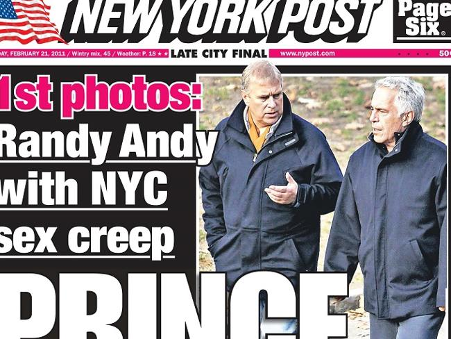 Prince and perv ... How the New York Post reported the former friendship of Prince Andrew