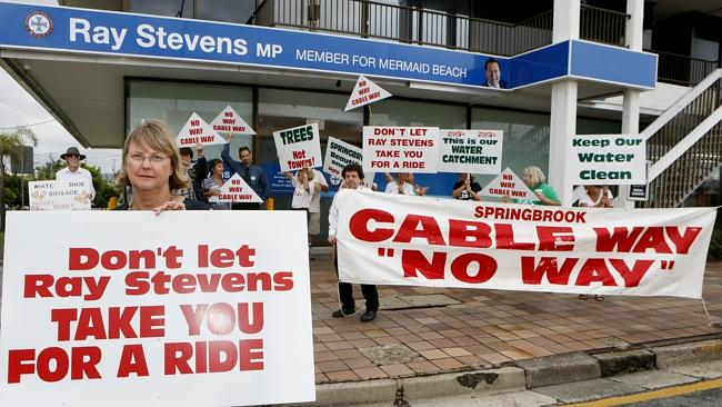 Ceris Ash and opponents of the cableway project staged a pop up rally outside the MP Ray