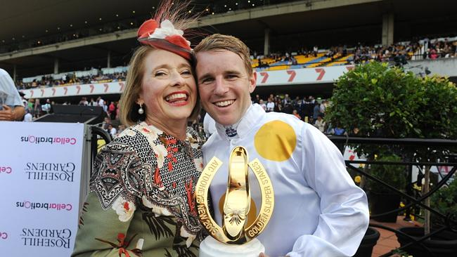 Gai Waterhouse and Tommy Berry with the Golden Slipper trophy after Vancouver's emphatic