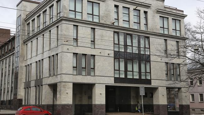"The building believed to house the ""troll farm"" at 55 Savushkina Street, St. Petersburg,"