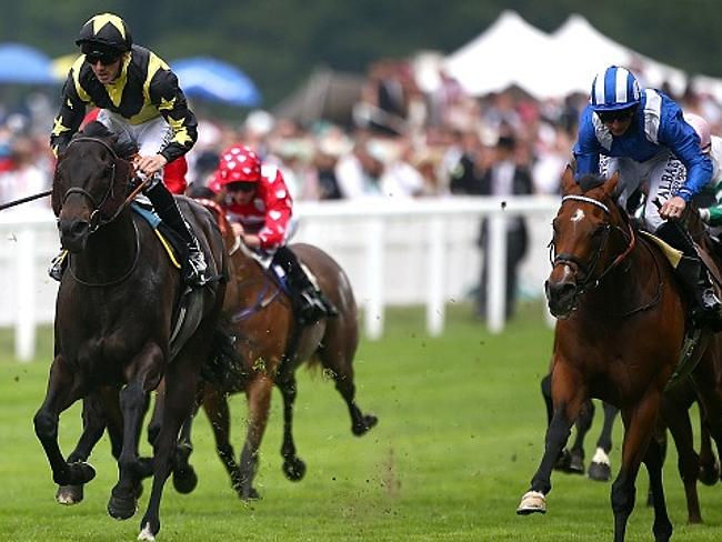 Martin Harley riding Goldream (left) wins the King's Stand Stakes at Royal Ascot 2015.