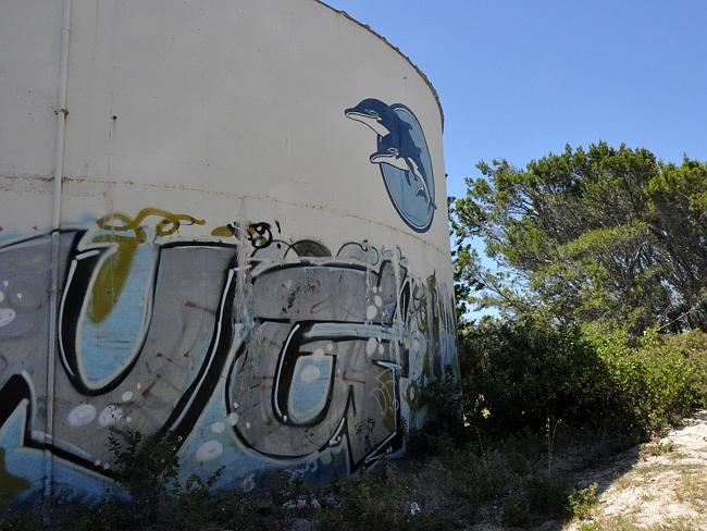 Vandals have graffitied what is left. Picture: Tor Lindstrand