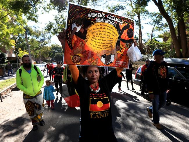 Indigenous protesters descended on Kirribilli for about three hours. Picture: Toby Zerna