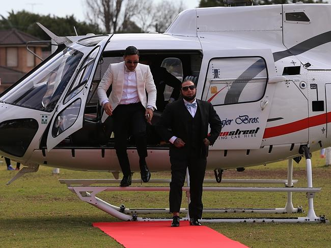 Auburn deputy mayor Salim Mehajer arrives at his wedding via helicopter. Picture: Toby Ze