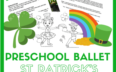 St Patrick's Day Preschool Dance Class Plan and coloring pages – downloadable