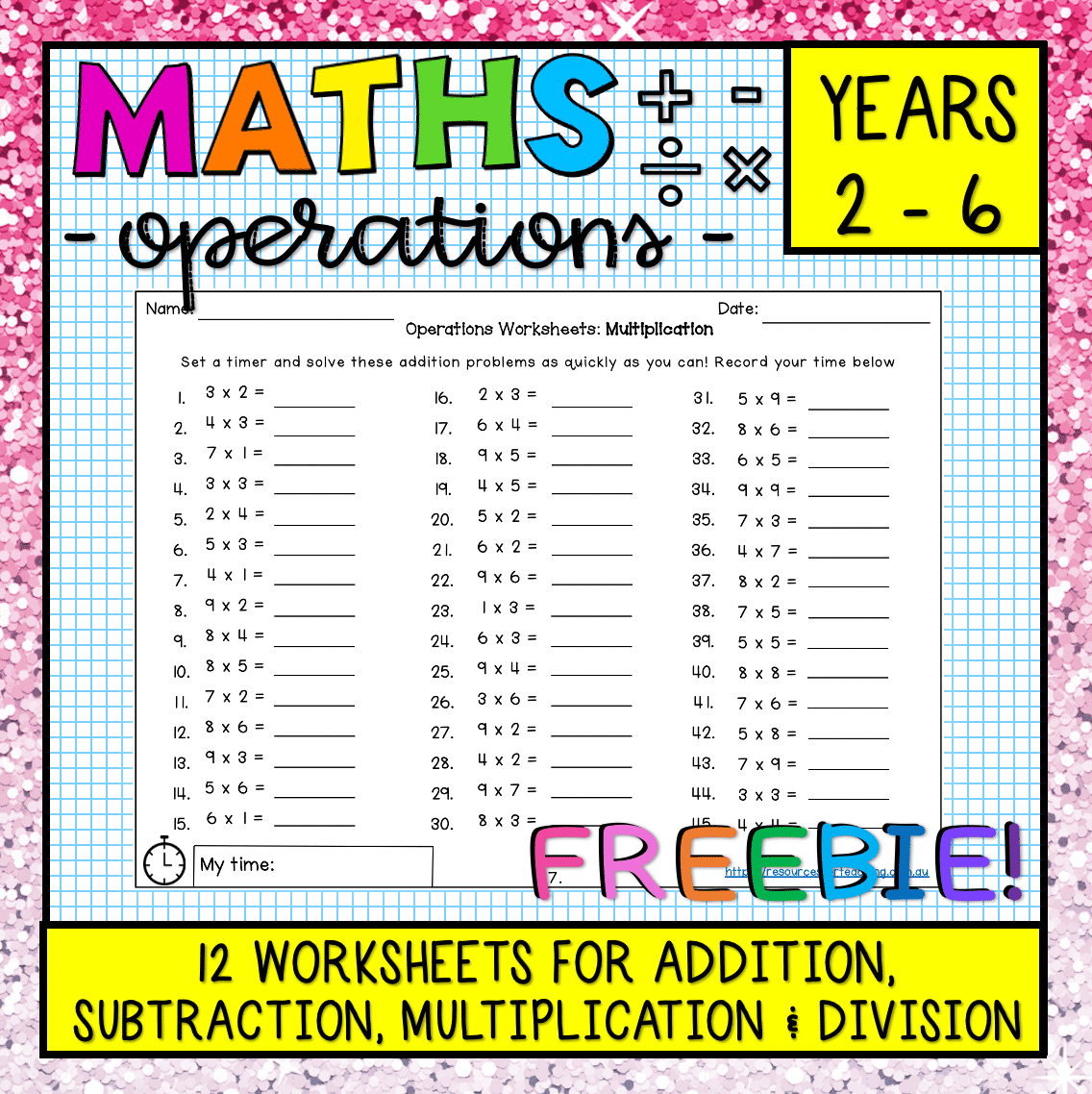 Maths Operations Worksheets Freebie
