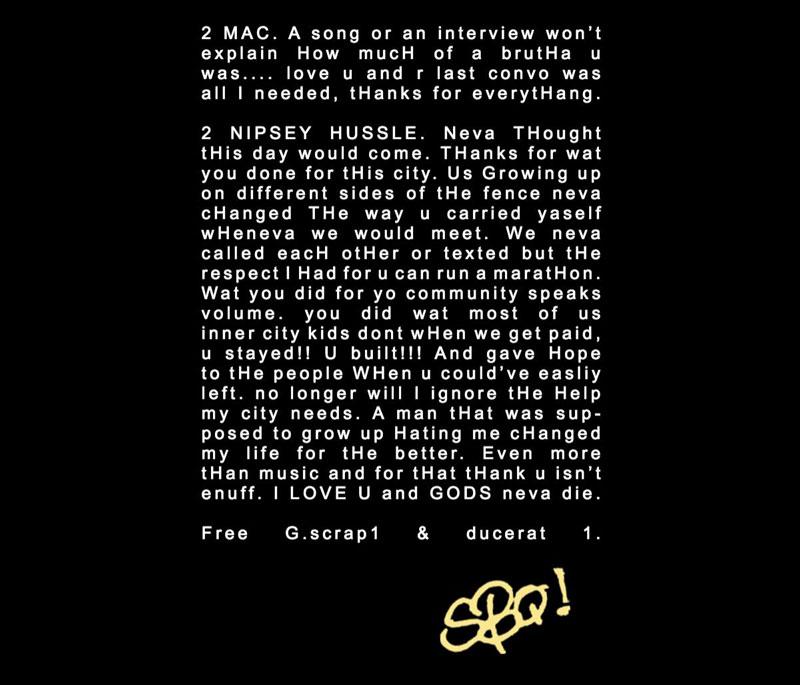 ScHoolboy Q's album liner message to Nipsey Hussle and Mac Miller
