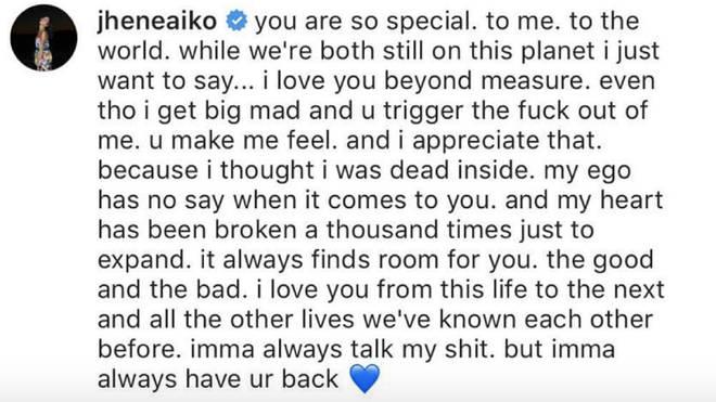 Jhené Aiko's message to Big Sean