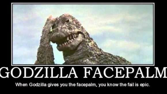William Cole gets a Godzilla facepalm
