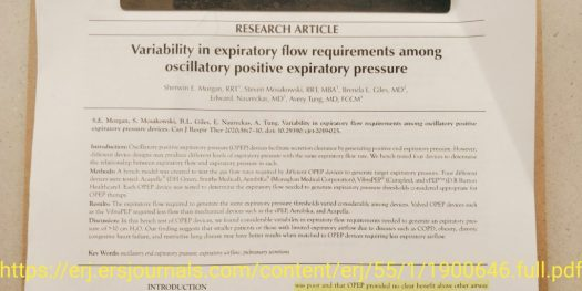 Screenshot of the first page of the article by Morgan et al. Ready by Farzad Refahi and shared on www.Respiratory.Blog