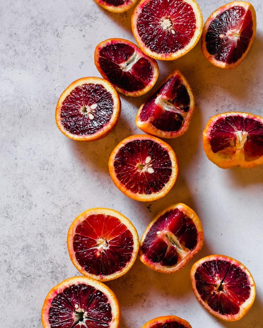 blood oranges or pale grey background