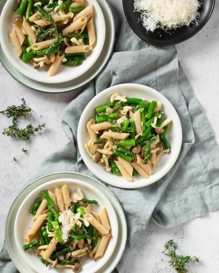 mushroom asparagus penne three plates