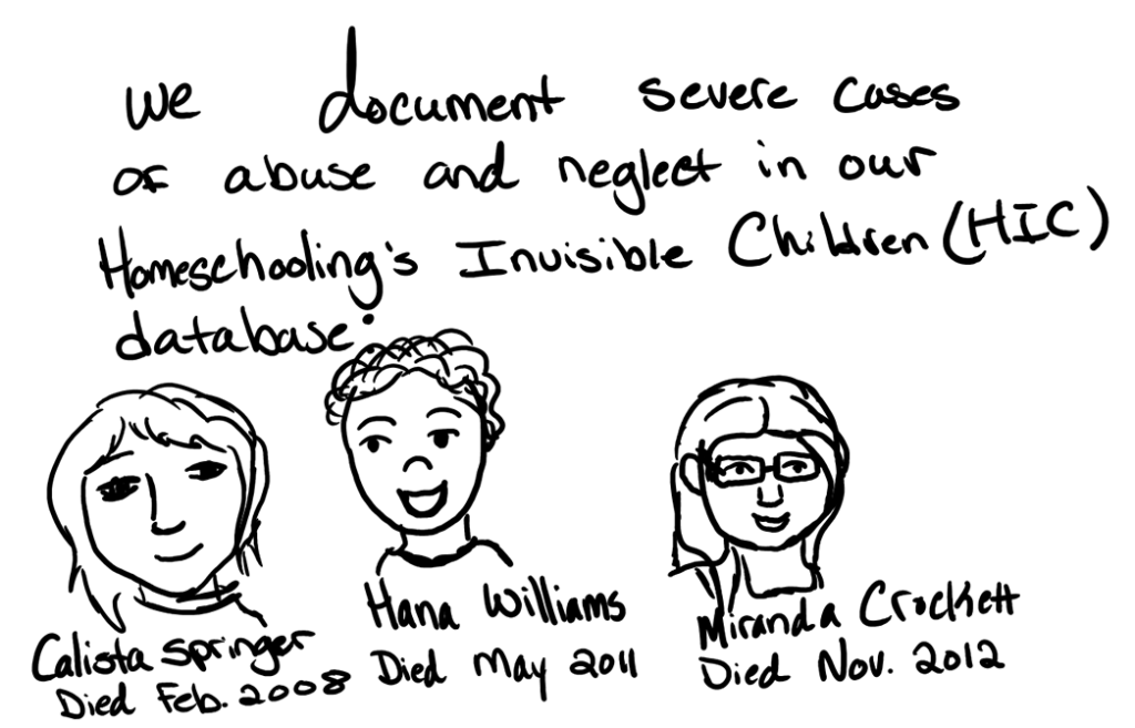 We document severe cases of abuse and neglect in our Homeschooling's Invisible Children database