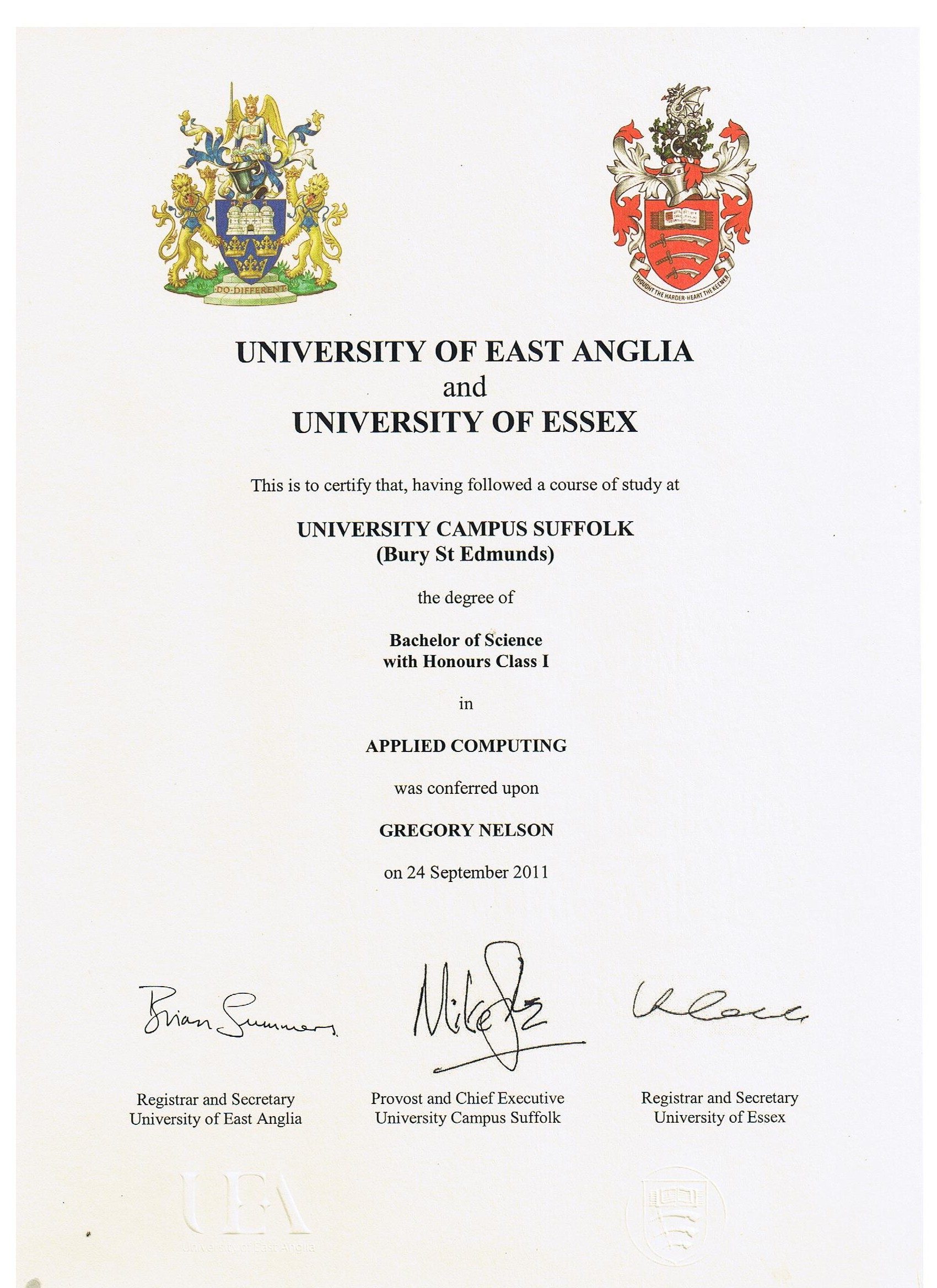 Gregory Nelson 1st Class BSc Hons