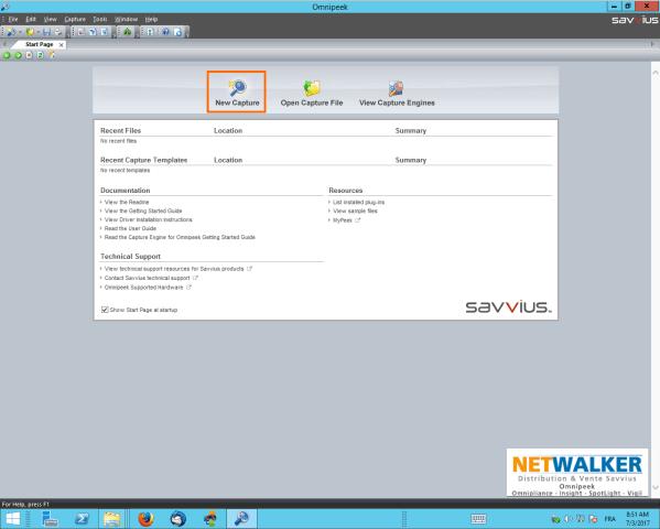 Pour démarrer la capture wireless multi-canaux, cliquez sur le bouton New Capture
