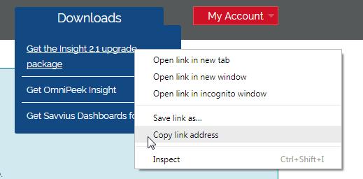 Télécharger le fichier de mise à jours de la sonde de diagnostic réseau Insight depuis le portail