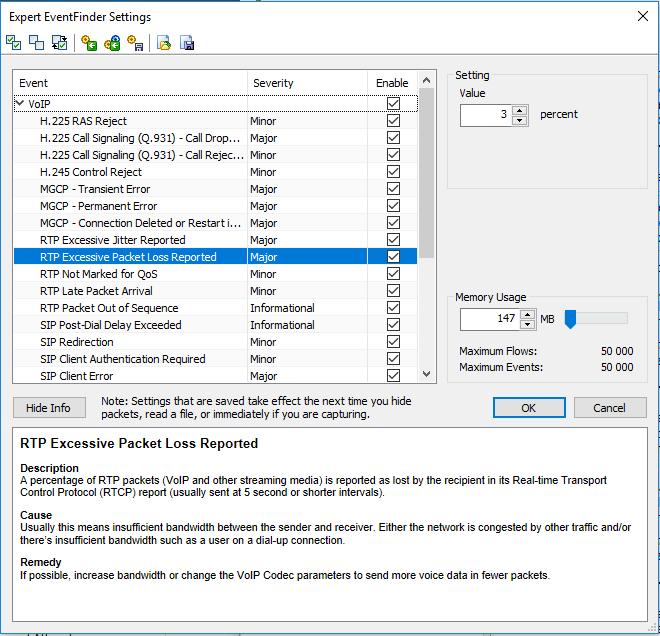 Réglages de sensibilité d'Omnipeek pour la détection de perte de paquets RTP