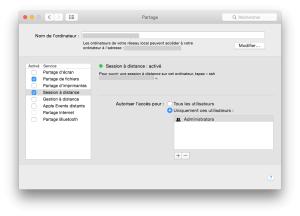 Activer Session à distance sur le Mac (SSH)