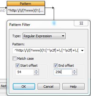 Insertion de l'expression régulière dans le filtre
