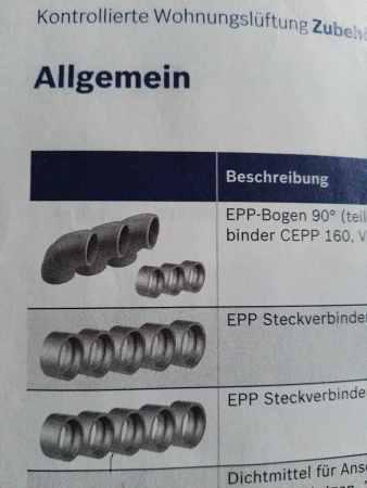 Kontrollierte Wohnungslüftung Junkers Bosch EPP-Bogen