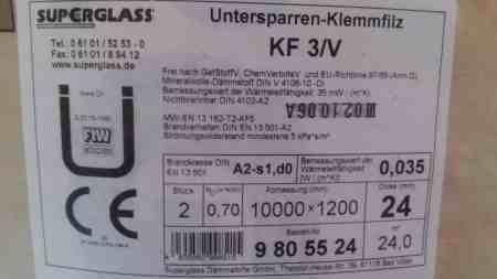 Untersparrenklemmfilz KF 3/V