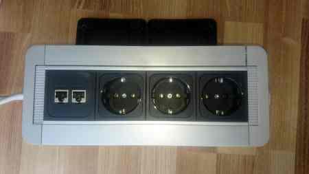 Vitra Rotax Current Einbautank für Tischplatte (3 x Steckdosen, 2 x CAT-Buchse)